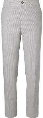 Ermenegildo Zegna Grey Striped Cotton-Seersucker Drawstring Suit Trousers