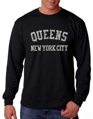 Pop Culture Men's Long Sleeve T-Shirt - Popular Neighborhoods In Queens, NY