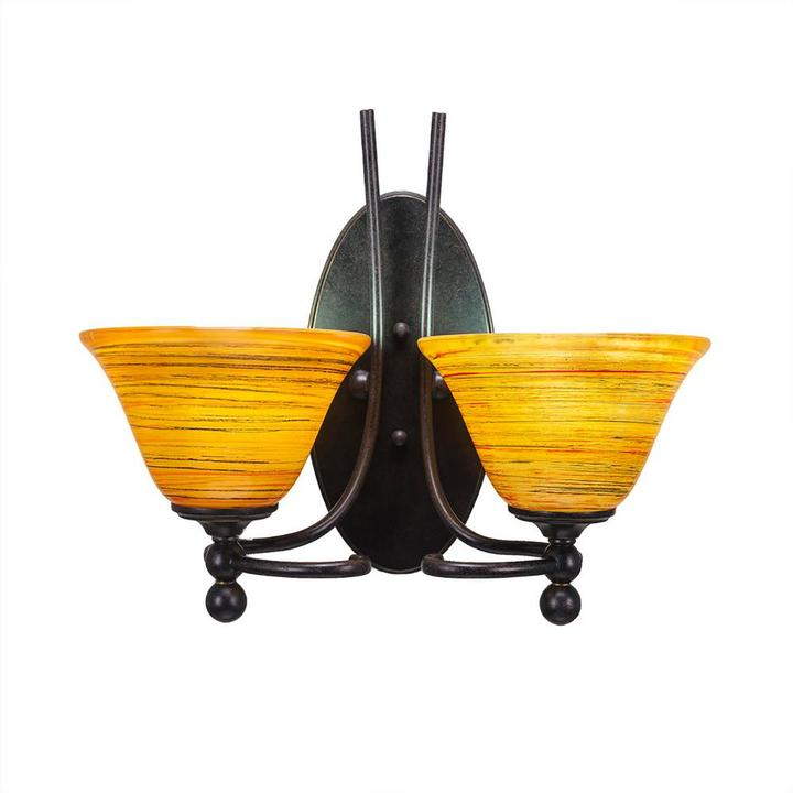Cambridge Silversmiths Cambridge 2-Light Dark Granite Sconce with Orange Marbleized Glass