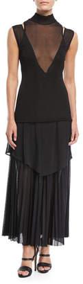 Proenza Schouler Pleated Gauze Jersey Mock-Neck Dress