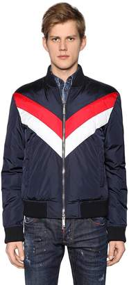 DSQUARED2 Striped Nylon Bomber Style Down Jacket