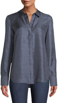 Lafayette 148 New York Scottie Feminine Foulard Silk Blouse