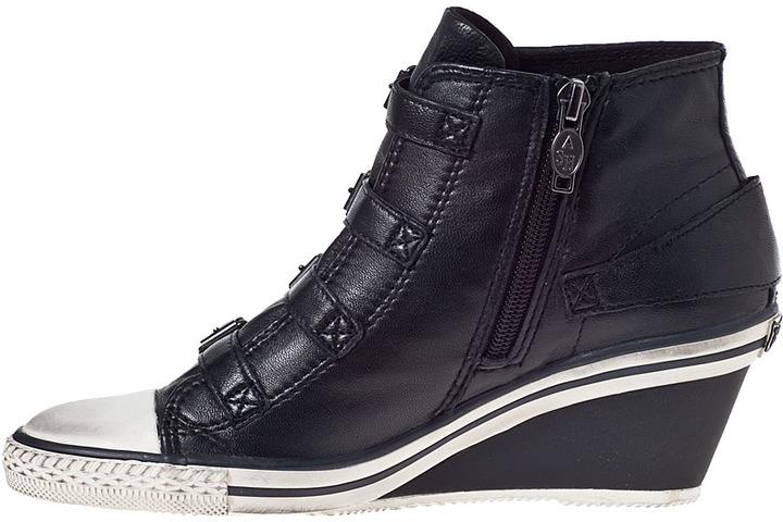 Ash Genial Wedge Sneaker Black/Black Leather