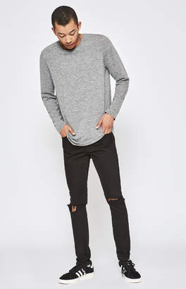 Pacsun Stacked Skinny Ripped Black Jeans