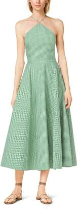 Michael Kors Gingham Double-Face Wool Halter Sundress