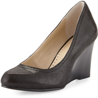 Adrienne Vittadini Media 2 Lizard-Print Wedge Pump, Black $79 thestylecure.com