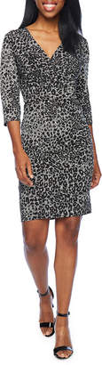 LONDON STYLE 3/4 Sleeve Cheetah Sheath Dress