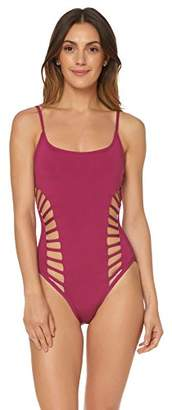 Red Carter Women's Side Cut-Out Maillot One-Piece Bathing Swim Suit