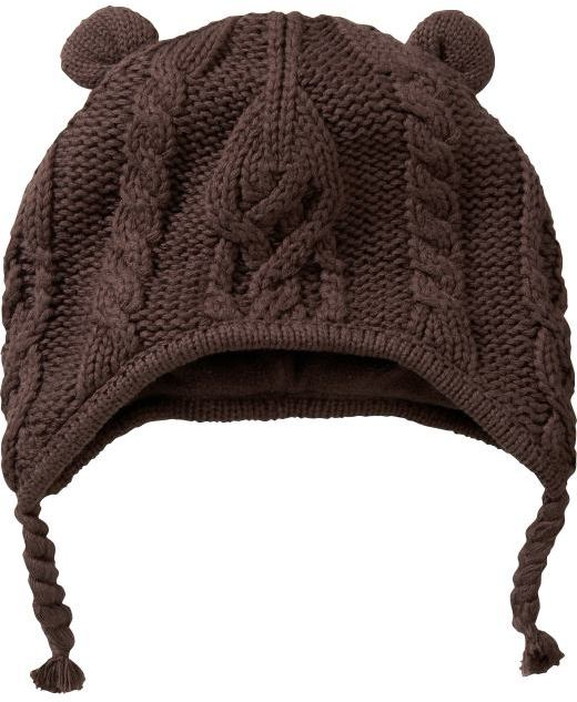 Cable knit bear hat
