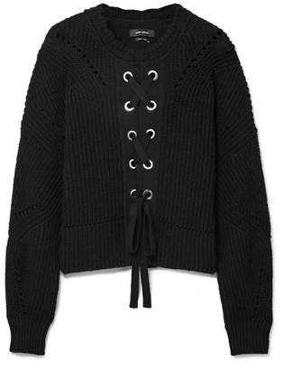 Isabel Marant Lacy Ribbed Cotton-blend Sweater - Black