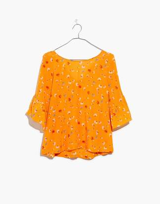 Madewell Silk Ruffle-Sleeve Top in Painted Carnations