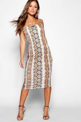boohoo Petite Snake Spaghetti Strap Midi Dress
