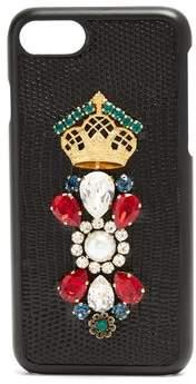 Dolce & Gabbana Iguana Crystal Embellished Iphone 7 Case - Womens - Black Multi