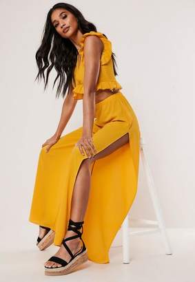 Missguided Yellow Co Ord Split Wide Leg Pants
