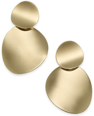 Kate Spade Gold-Tone Curved Disc Double Drop Earrings