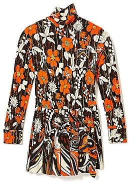 Prada Women's Floral Turtleneck Pleat Shift Dress