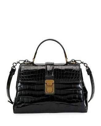 Bottega Veneta Piazza Small Crocodile Top-Handle Satchel Bag