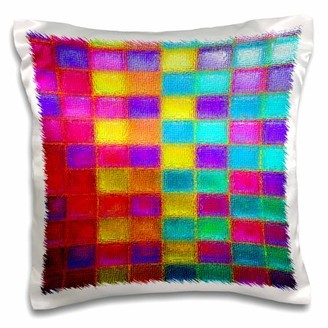 3dRose Checkered multi colored squares in neon bright colors, Pillow Case, 16 by 16-inch
