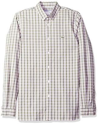 Lacoste Men's Long Sleeve Oxford Check Button Down Collar Slim Woven Shirt