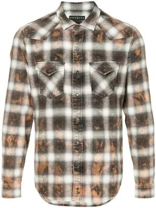Roarguns acid wash plaid shirt