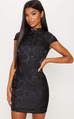 0d0bfed73 PrettyLittleThing Black Floral Satin Oriental Bodycon Dress