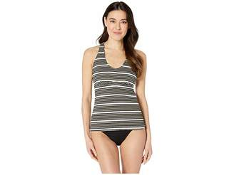 24th & Ocean Luxe Gold Stripe Over the Shoulder Back Strapping Tankini Top