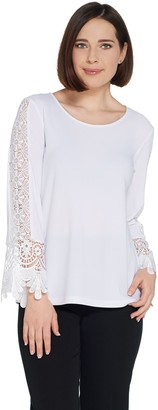 Dennis Basso Caviar Crepe Top with Lace Trimmed Sleeves