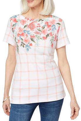 Karen Scott Short-Sleeve Gingham Floral Tee