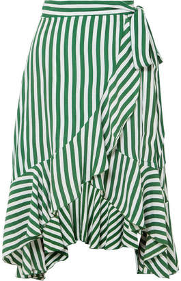 Faithfull The Brand Tramonti Ruffled Striped Crepe De Chine Wrap Skirt - Green