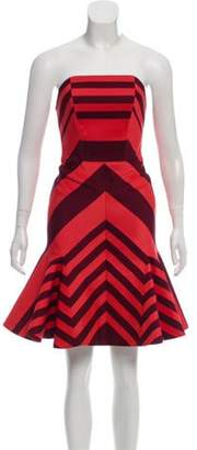 Lanvin Strapless Striped Dress coral Strapless Striped Dress