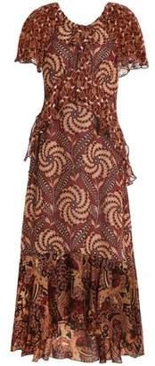 Anna Sui Ruffled Printed Fil Coupé Silk Midi Dress