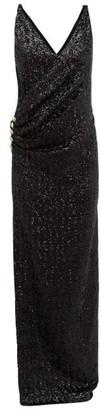 Balmain Sequinned Wrap Effect Gown - Womens - Black