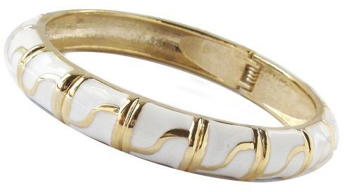 S-Bar Enamel Bangle Bracelet - White