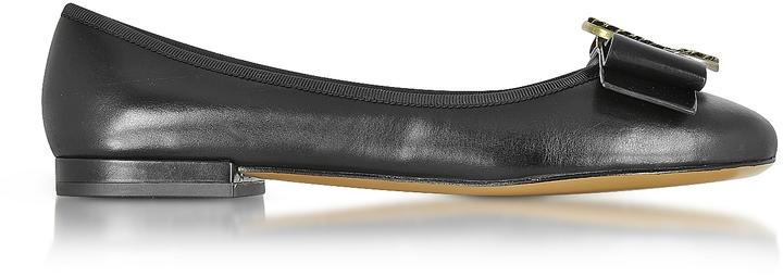 Marc JacobsMarc Jacobs Interlock Black Leather Round Toe Ballerina Flat