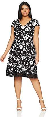 Sandra Darren Women's Plus Size Cap Sleeve Floral V-Neck Knit Fit and Flare Dress