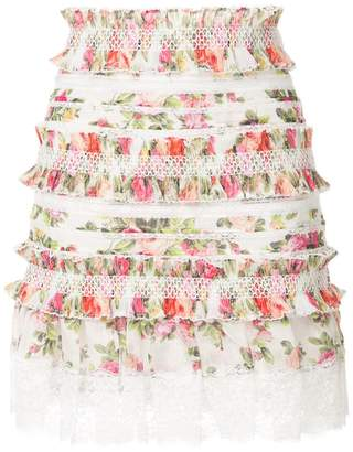 Zimmermann watermelon bouquet ruffled mini skirt