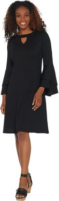 Isaac Mizrahi Live! Pebble Knit Keyhole Dress with Ruffle Sleeves