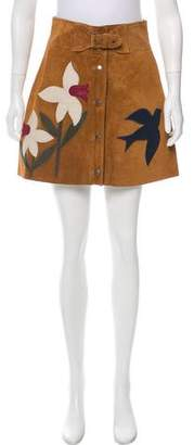 RED Valentino Embroidered Suede Skirt w/ Tags