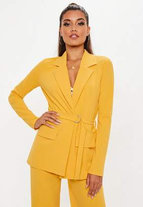 Missguided Yellow Utility Stretch Crepe Blazer