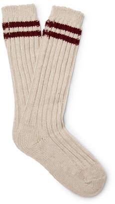 The Elder Statesman Yosemite Striped Ribbed Cashmere Socks