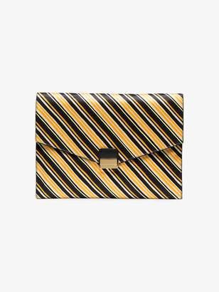 Dries Van Noten orange and black striped linen clutch