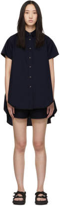 Sacai Navy Shirting Short Sleeve Dress