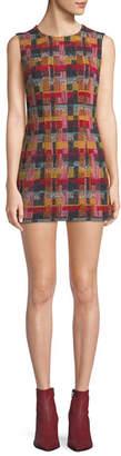 ADAM by Adam Lippes Sleeveless Plaid Tweed Fitted Mini Dress