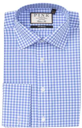 Thomas Pink Summer Gingham Print Classic Fit Dress Shirt