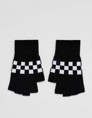 Asos Fingerless Gloves In Black With Checkerboard Design