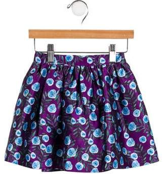 Oscar de la Renta Girls' Floral Silk-Blend Skirt w/ Tags