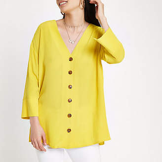 River Island Yellow button front bar back blouse