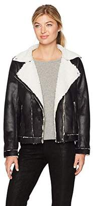 True Grit Dylan by Women's Soft Bonded Faux Fur Moto Jacket with Pockets