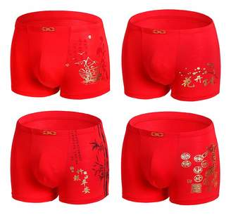 YVWTUC Young Men's Lucky Red Underwear 4-Pack Cozy Boxer Briefs Breathable