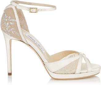 Jimmy Choo TALIA 100 Ivory Satin and White Lace Sandals
